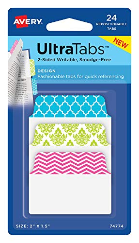 Avery Multiuse Design Ultra Tabs, 2 x 1.5, 2-Side Writable, Pastel Designs, 24 Repositionable Tabs (74774)