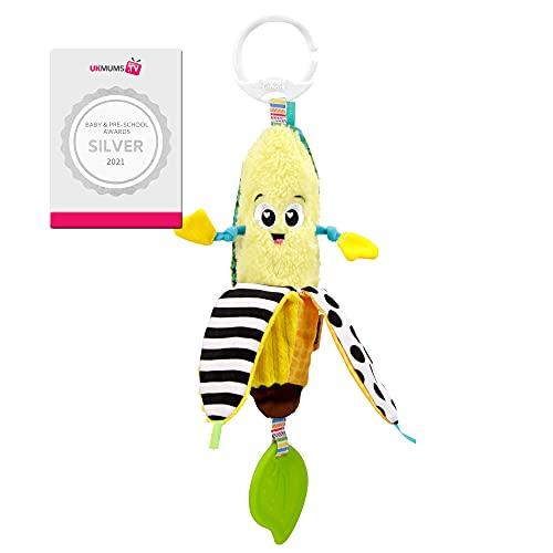 LAMAZE Bea the Banana, clip en el cochecito y cochecito de bebé recién nacido, juguete sensorial para bebés con colores y sonidos, juguete de desarrollo para niños y niñas de 0 a 24 meses