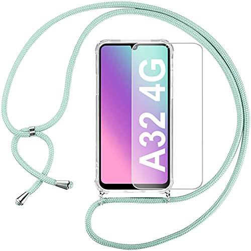 Pnakqil Funda con Correa Colgante para Samsung Galaxy A32 4G 6.4' Protector Pantalla Carcasa Transparente Silicona Case con Verde Collar Correa de Cuello Cadena Cordon Fundas para Samsung A32 4G