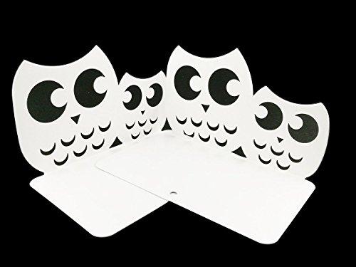 Une paire de serre-livres en métal antidérapants pour enfants - Serre-livres en forme de hibou - Cadeaux blanc