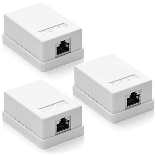 deleyCON 3X CAT 6a Netzwerkdose 1x RJ45 Buchse FTP geschirmt Aufputz Montage 10 Gbit Ethernet Netzwerk LAN Dose RAL 9003 Weiß