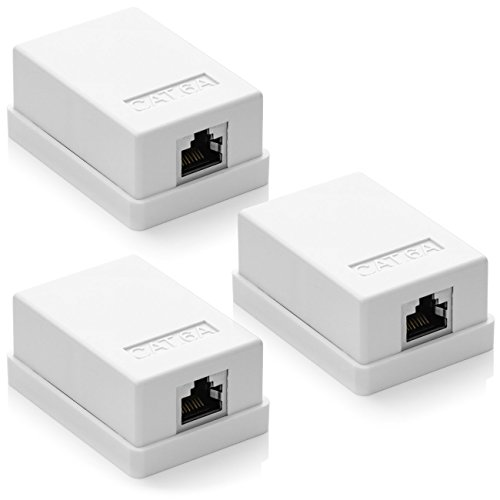 deleyCON 3X Cat 6a Superficie RJ45 1x Puertos Conector de Red Blindados FTP 10 Gbit Ethernet LAN Cable de Conexión - Blanco