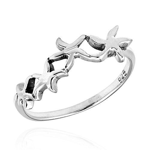 AeraVida Charming Linked Starfish .925 Sterling Silver Ring (6)