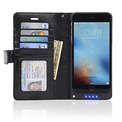 NAVOR Folio Wallet Power Battery Case 5000 mAh for iPhone 6 Plus / 6S Plus [5.5 Inch] - Black (IP6PBTCBK)