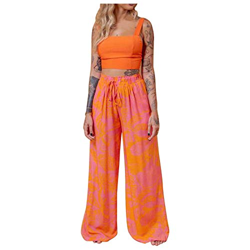 Kansopa Women Casual Butterfly Printed Sleeveless Camis Tops Long Pants 2 Piece Set Outfits Summer Romper Boho Playsuit