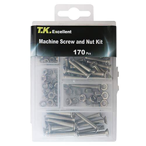 T.K.Excellent 170 piezas Tornillo cabeza plana, Juegos de pernos con tuerca y arandela, Acero inoxidable 304