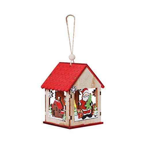 Amosfun leuchten Weihnachten holzhaus Ornament Miniatur weihnachtsdorf hängen anhänger dekorative Lampe für Weihnachten Party Supplies (weihnachtsmann)