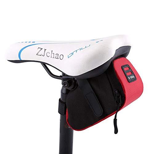 ZJchao Bolso para Sillín Alforjas tija sillín de Ciclismo Impermeable para Bicicletas de Montaña y de Carretera Asiento Paquete (Rojo)