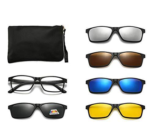 AILINSHA Gafas de Sol polarizadas para Mujeres Mujeres, con 5 Lentes Deportes de Gafas Retro Marco UV400 Protección Multiusos TR90 Gafas Gafas C-PC