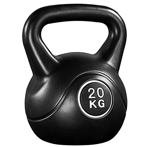 kettlebell economico Yaheetech Kettlebell da 20 kg per Sport Fitness Palestra in HDPE e Cemento con Maniglia Ergonomica Antiscivolo Attrezzo Sportivo da Costruzione Muscolare e Allenamento di Forza Nero