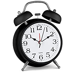 Bernhard Products Analog Alarm Clock 4 Twin Bell Black Silent Non-Ticking Quartz Battery Operated Extra Loud with Backlight for Bedside Desk, Retro (Black & White A)