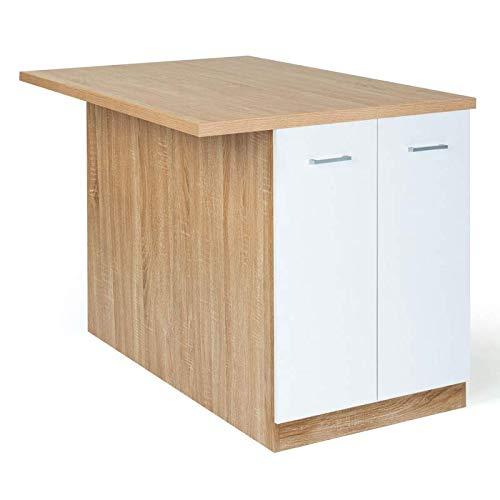 IDMarket - Ilot central IVO 120 cm bois façon hêtre portes blanches avec plan de travail