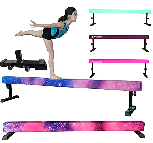 FC FUNCHEER 8FT Adjustable Balance Beam, High and Low Level Gymnastics Competition Style Training Beam with Legs (Pink)