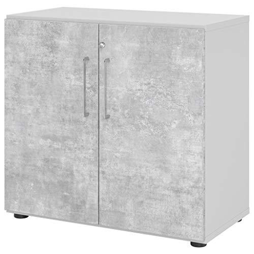 Bureaumeubel Expert vleugeldeurkast kantoorkast archiefkast 2 ordnerhoogtes serie 9 metalen handgreep houten deuren 1 plank Lichtgrijs-beton