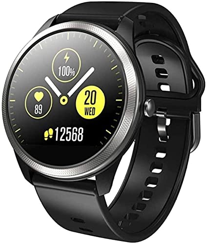 Reloj inteligente de 1.24 pulgadas de alta definición de pantalla táctil redonda IP68 impermeable mensaje recordatorio multi-deporte pulsera-Negro