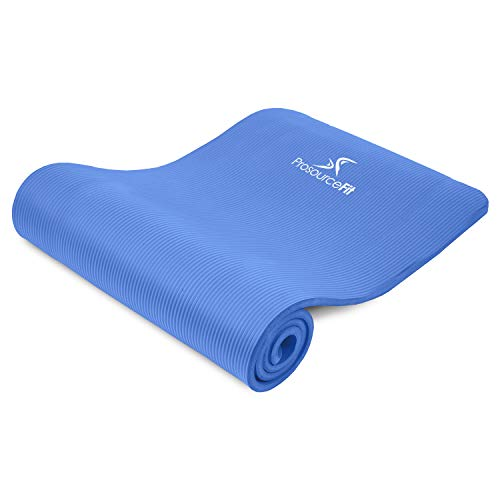 """ProsourceFit Extra Thick Yoga and Pilates Mat ½"""" (13mm), 71-inch Long High Density Exercise Mat with Comfort Foam and Carrying Strap, Blue"""