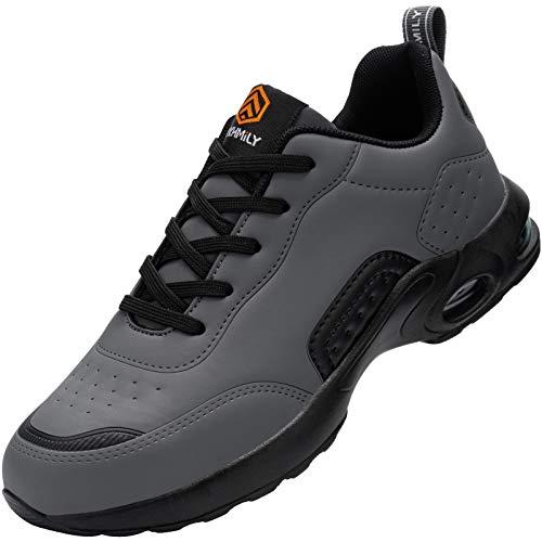 Fenlern Chaussures de Travail Homme Legere Coussin Baskets de Sécurité Protection Embout Acier Chaussure de securite(Noir Gris,43)
