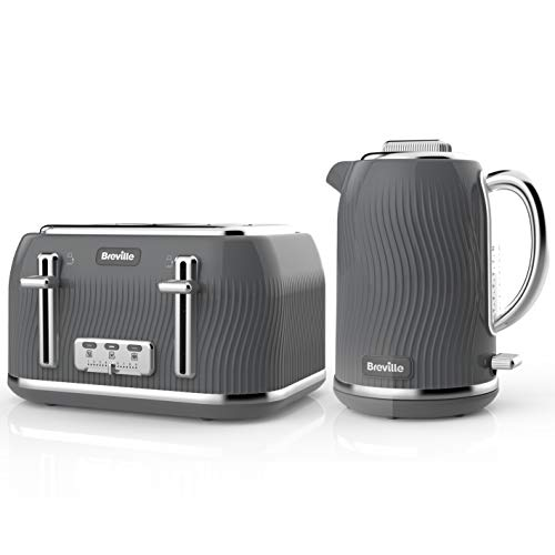 Breville Flow Kettle & Toaster Set with 4 Slice Toaster & Electric Kettle (3 KW Fast Boil), Grey