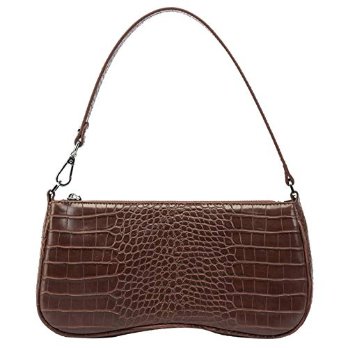 JW PEI 90s Shoulder Bag for Women Vegan Leather Crocodile Purse Classic Clutch Handbag brown Size: S