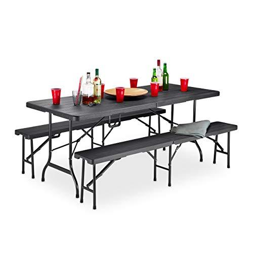 Relaxdays Bierzeltgarnitur Holzoptik, 3er Set, Bierbänke & Klapptisch, Griff, Maserung, wetterfest, Kunststoff, schwarz