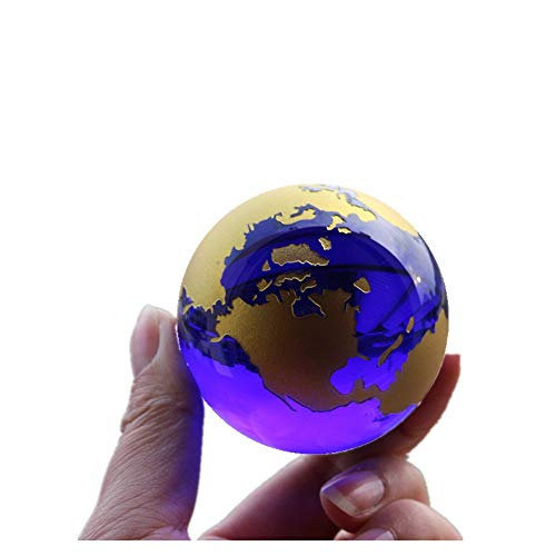 TYGJB Crystal globe world map Feng shui Gift Crystals Sphere Desk Ornaments nautical home decor (Gold)