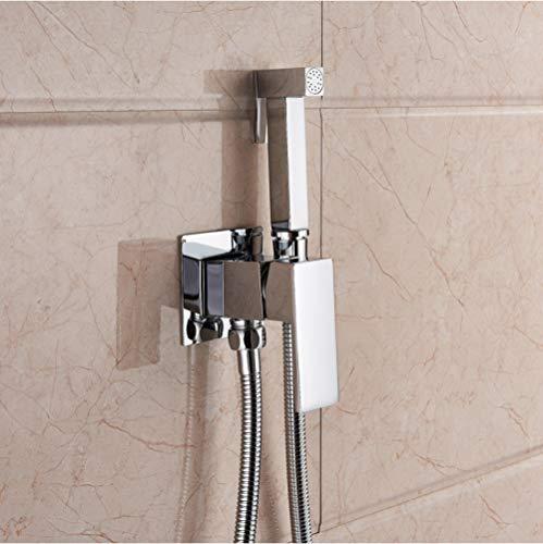 ZYHYCH Bidet montado en la pared, grifo mezclador de inodoro, grifos de bidé de níquel cepillado, grifo deducha de baño, bidé, rociador de inodoro, cromo