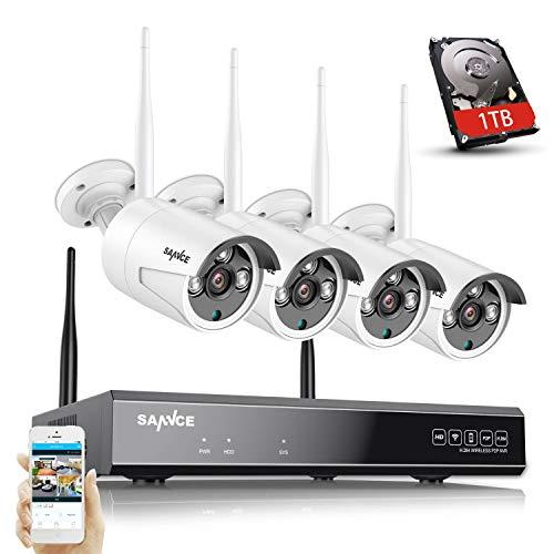 WLAN Überwachungskamera Set mit Audioaufnehmen,SANNCE 5MP 8CH Wireless NVR + 4x3MP Kabellose Outdoor Überwachungskamera mit 1TB Festplatte AI Human Detection IP66 Wasserdicht unterstützt Amazon Alexa