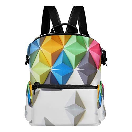 Mokale Tetraedros Origami Fondo Colorido,Mochila para portátil Mochila con Correa de Cuero...