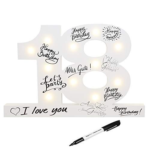 CREOFANT  Libro de visitas XL para 18 cumpleaños, decoración con iluminación LED, 37 cm x 24 cm, decoración de mesa, idea de regalo, 18 cumpleaños, funciona con pilas, incluye lápiz negro