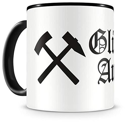 Samunshi® Schlägel und Eisen Glück Auf 3 Tasse Kaffeetasse Teetasse Kaffeepott Kaffeebecher Becher Ruhrpott Schalke Schlägel und Eisen Glück Auf 3 300ml schwarz/schwarz