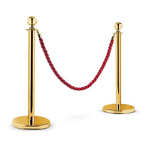 oneConcept Golden Gate transenna eliminacode (1,5 metri, due paletti dorati, cordone rosso metallizzato, per interni ed esterni, feste, esposizioni, eventi) - rosso/oro