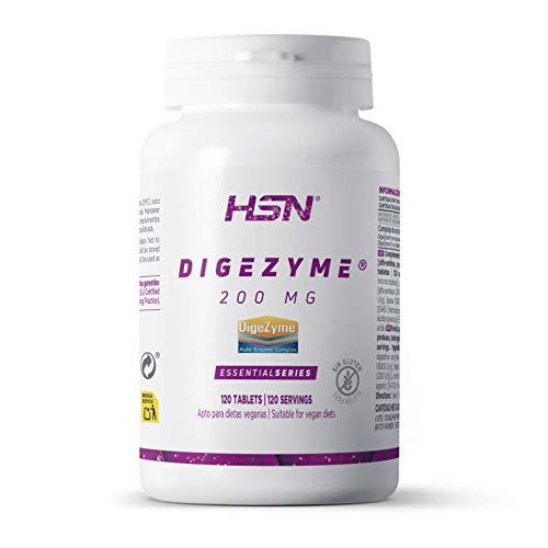 Digezyme de HSN | 200mg | Complejo de Enzimas Digestivas, Ayuda en la Digestión y Mejora la Absorción de los Nutrientes | Vegano, Sin Gluten, Sin Lactosa, 120 tabletas ⭐