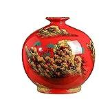 ZQDL Cerámica China Rojo Ronda Vientre Paisaje Grande Jarrón Decoración Estilo Chino Sala Piso Decoración del Hogar -12790N6W9D
