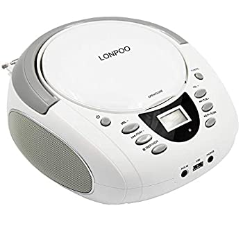 LONPOO Portable Boombox - CD Player Bluetooth USB MP3 AUX FM Radio Portable Built-in Stereo Speakers Carrying Handle LCD Display White