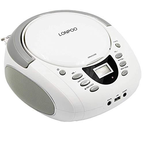 LONPOO Tragbare CD Player für Kinder Bluetooth CD Boombox mit UKW-Radio & USB Eingang, 2 x 2Watt RMS Stereoanlage (weiss)