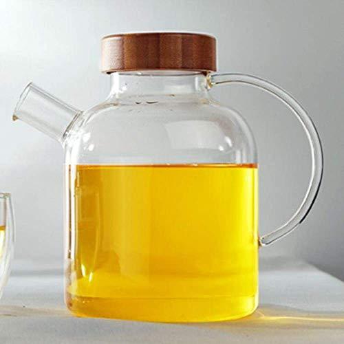 WXQ Tetera Artesanal de 500 ml Jarra de Vidrio Resistente al Calor Tetera China clásica Tapa de bambú Colador de Vidrio Resistente al Calor Hervidor de Vidrio, Tetera Individual de 500 ml