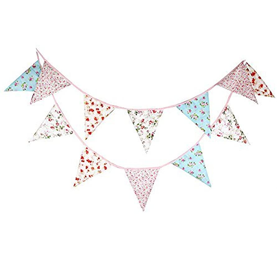 Double Sided 3.7M/12 Feet Floral Bunting Banner Pennant Garland Large Size Triangle Flag Vintage Cloth Shabby Chic Decoration for Birthday Parties, Kitchen, Bedroom (12Ft Mixed Floral)