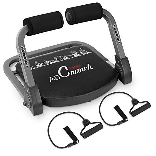 femor Core & Abs Exercise Trainer, Total Body Muscle Building Crunch Training Machine, Home Gym Fitness Equipment for Strength Training with Resistance Bands & Workout Guide, Black