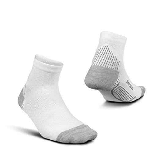 Feetures Plantar Fasciitis Relief Sock - Light Cushion - Quarter - White - Size X-Large