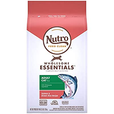 NUTRO WHOLESOME ESSENTIALS Adult Natural Dry Cat Food Salmon & Brown Rice Recipe, 3 lb. Bag