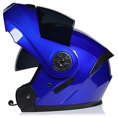 SJAPEX Bluetooth Integrado Casco de Moto Modular con Doble Visera Cascos de Motocicleta ECE/Dot Homologado Motocicleta de Casco Completo para Adultos al Aire Libre Casco Integral C,3XL=64cm
