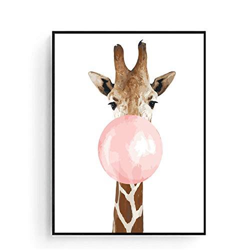 Olieverfschilderij om zelf te maken voor volwassenen kinderen - Giraffe bellen - Schilderen op nummer-kits - Acrylschilderij als cadeau voor thuis (zonder lijst, 40 x 50 cm)