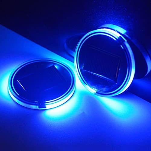 JDKC- Énergie Solaire Lumière de Support de Tasse de Voiture de LED, Coussin de Tasse Luminescent, Lampe D'ambiance Intérieure à LED, Feux D'automobile, Accessoires D'éclairage de Voiture Cool