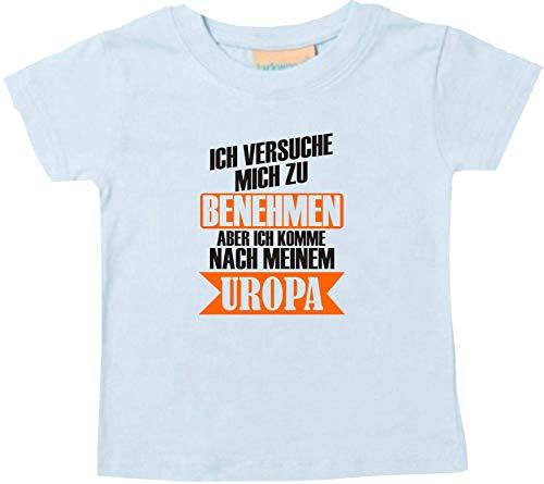 Shirtstown – Camiseta infantil para bebé, con texto en alemán 'Ich versuche Mich zu Benehmen aber ich kommen nach Mein Uropa, niños pequeños con frases Niki Logo Diseño Familia Amigos Amor. azul marino 18-24 Meses