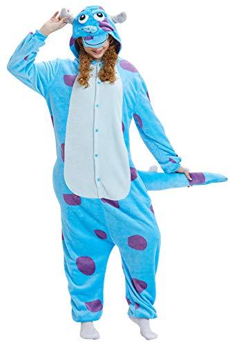 YAOMEI Adulto Unisexo Onesies Kigurumi Pijamas, 2020 Mujer Hombres Traje Disfraz Animal Pyjamas, Ropa de Dormir Halloween Cosplay Navidad Animales de Vestuario (Sullivan, M)