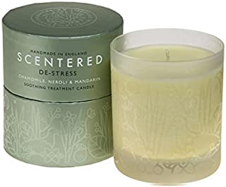 Scentered DE STRESS Aromatherapy Scented Candle - Supports Relaxation, Calmness & Stress Relief - Chamomile, Jasmine & Cedarwood Blend - Large