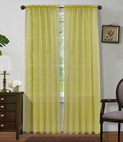 """Sapphire Home 2 Panels Window Sheer Curtains 54"""" x 63"""" Inches (108"""" Total Width), Voile Panels for Bedroom Living Room, Rod Pocket, Decorative Curtains, Solid Sheer Curtains Yellow"""