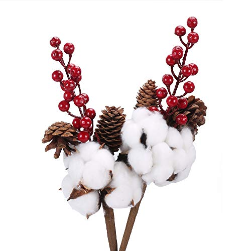 XHXSTORE 2PCS Flor Natural de algodón de Navidad con Bayas Flor Artificial roja para Bodas de Navidad DIY Centro de Mesa para el hogar Arreglo Floral