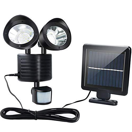 Luz LED Solar Exterior , CNSUNWAY 22 LED 2 cabezales de lámpara giratorios para IP65 Impermeable Luz Solar con sensor de movimiento Lámpara Inundación de Seguridad Para Puerta de Entrada Patio Jardín