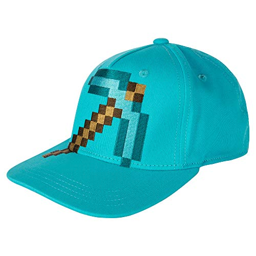 JINX Minecraft Diamond Pickaxe Stretch-Fit Baseball Hat, Blue, One Size
